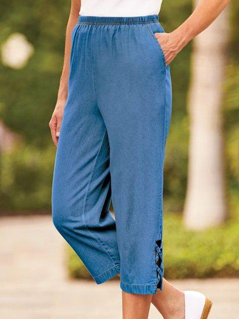 Women Pockets Shift Casual Denim Cropped Pants