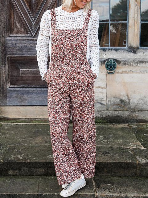 Women Floral Pockets Shift Casual Jumpsuits