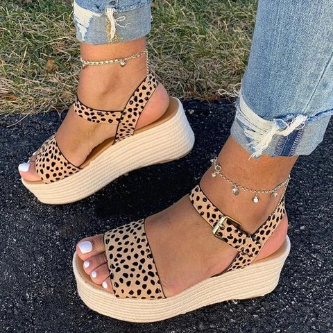 Leopard Daily Artificial Suede Sandals