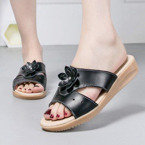 Women Flower Flat Heel Open Toe Cut Out Slippers