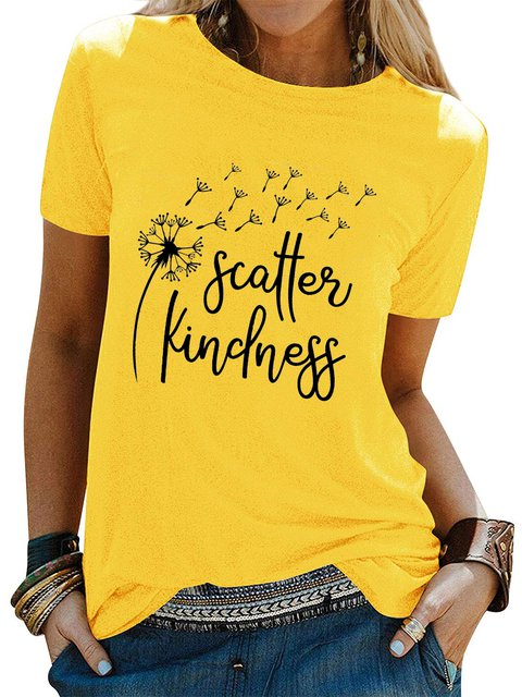 Yellow Cotton Short Sleeve Letter Crew Neck Shirts & Tops