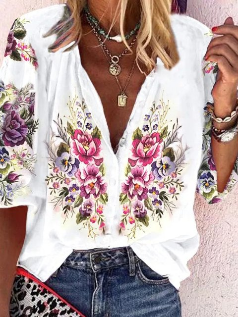 Cotton-Blend Printed Half Sleeve Shirts & Tops