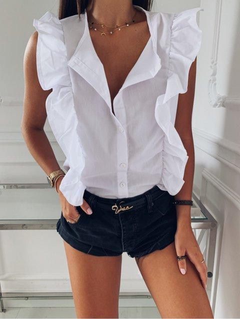 Vintage Ruffled Sleeveless Shirts & Tops