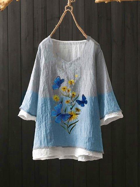 Gray-Blue Vintage Cotton-Blend Floral Shirts & Tops