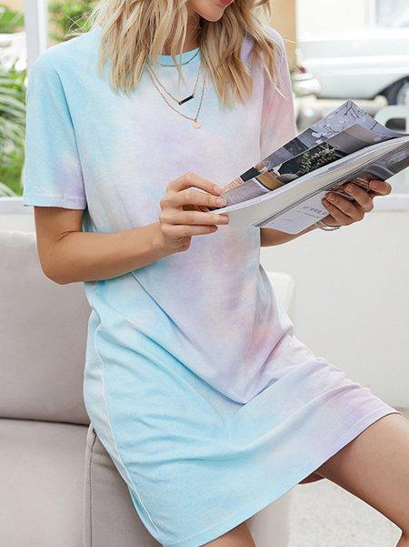 Ombre/tie-Dye Crew Neck Short Sleeve Dresses
