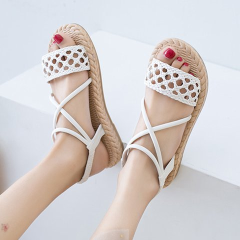 Summer Flat Heel Cloth Hollow-out Open Toe Espadrille Sandals