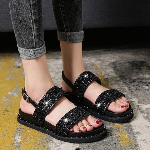 Buckle Strap Comfortable Flat Heel Open Toe Crystal Sandals