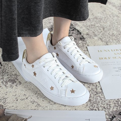 Gold & Silver Star Lace-up Sneakers
