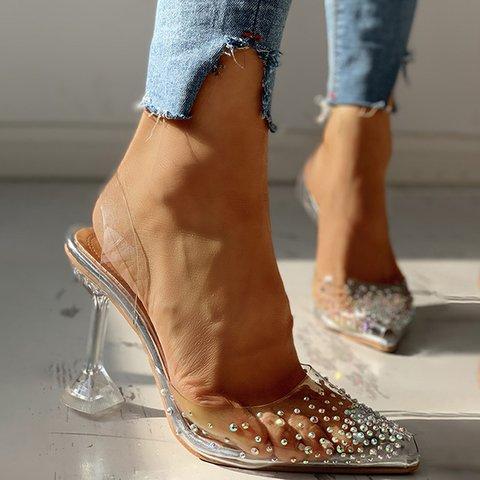 Transparent Gorgeous Rhinestone Dinner Wedding High Heels