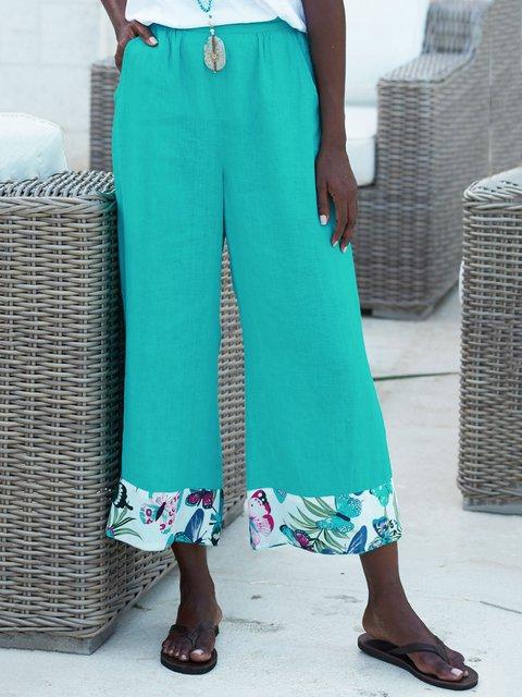 Women Wide Leg Plus Size Pockets Pants