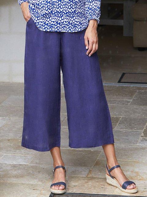 Women Solid Wide Leg Plus Size Pants