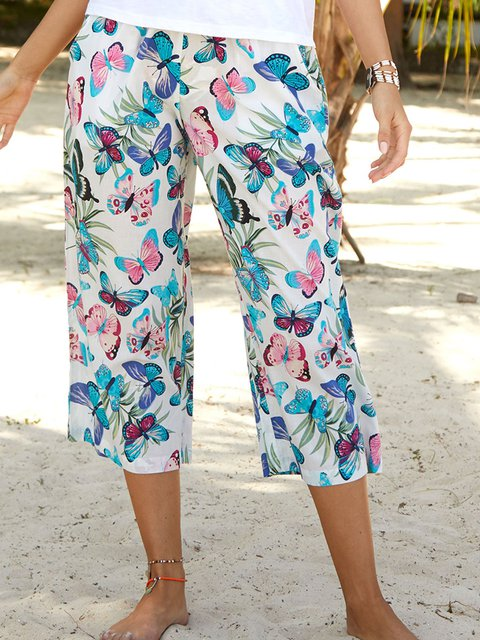 Women Summer 3/4 Pants Printed Holiday Trousers