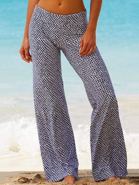 Summer Wide Leg Printed Pants Women Trousers