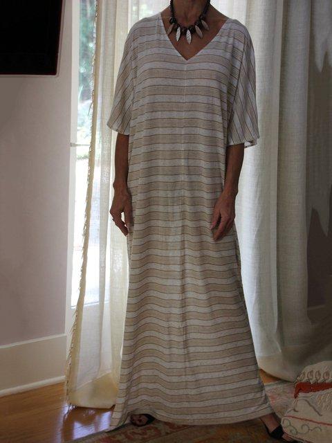 Brown White Casual Kaftan Dress