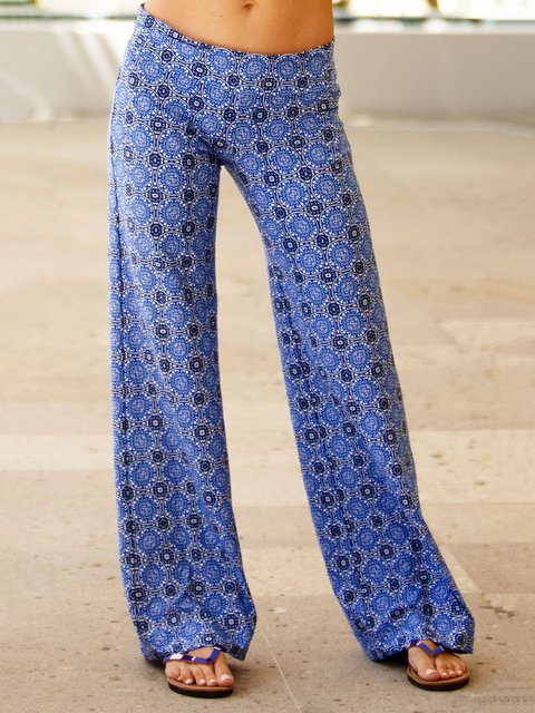 Women Wide Leg Trousers Holiday Printed Pants