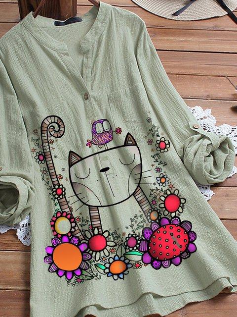 Green V Neck Vintage Cotton-Blend Floral Shirts & Tops