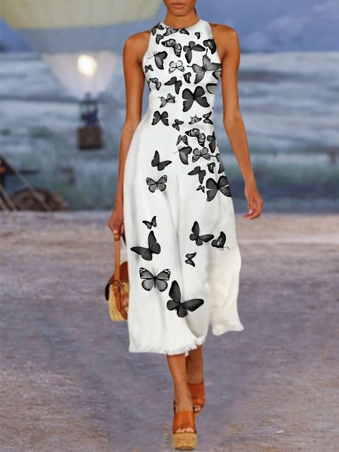 White Sleeveless Paneled Cotton Dresses