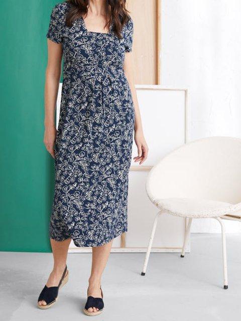Navy Blue Short Sleeve Square Neck Cotton-Blend Dresses