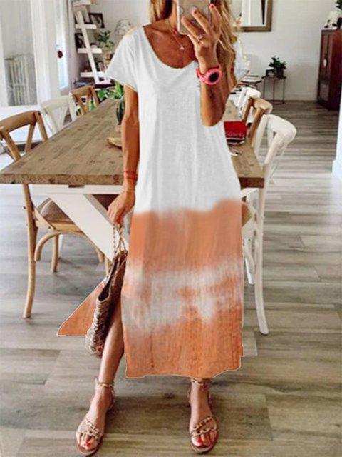 Orange Short Sleeve Ombre/tie-Dye Crew Neck Dresses
