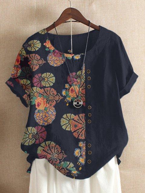 Blue Floral Vintage Floral-Print Shirts & Tops