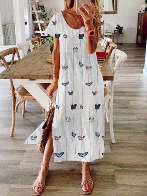 White Crew Neck Cotton-Blend Short Sleeve Dresses