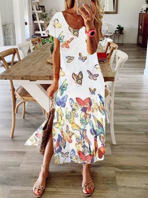 Butterfly White Cotton-Blend Short Sleeve Crew Neck Dresses