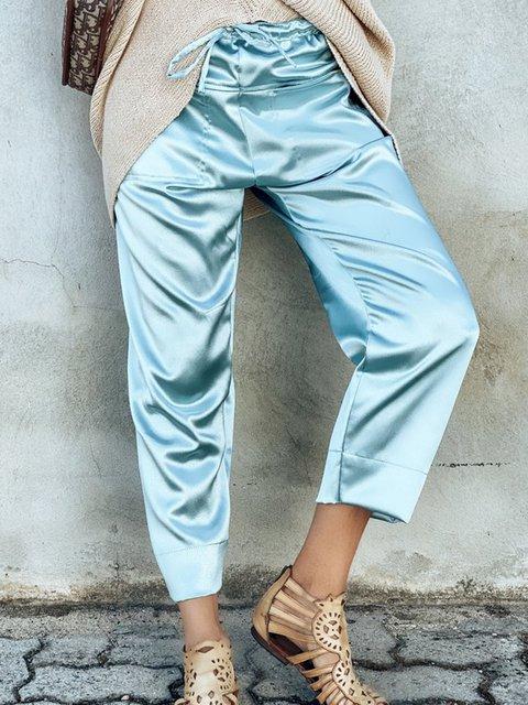 Women Satin Pockets Solid Casual Capri Pants