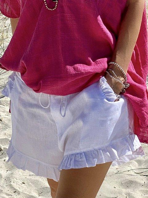 Women Ruffled Pockets Linen Solid Casual Shorts
