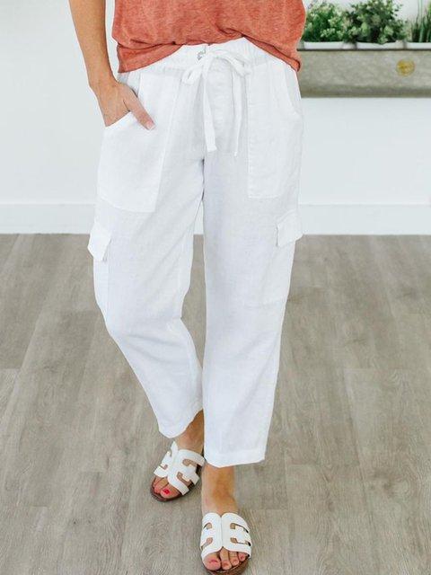 Women Pockets Drawstring Solid Casual Linen Capri Pants