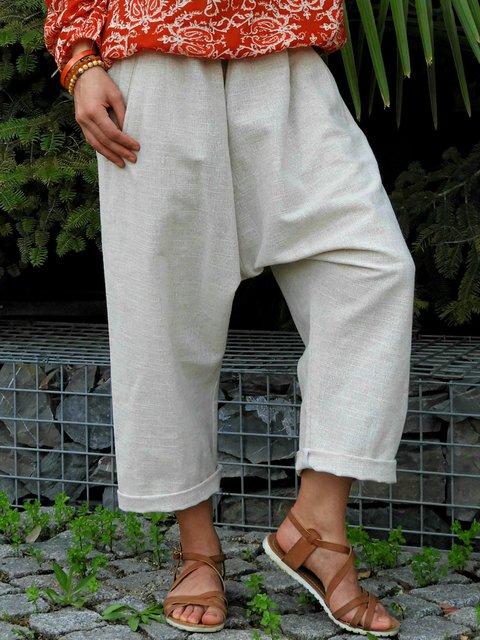 Women Pockets Solid Casual Harem Capri Pants