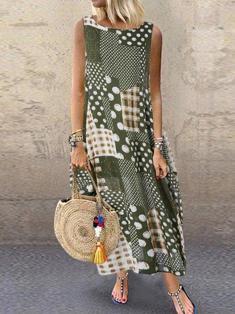 Cotton-Blend Sleeveless Tribal Maxi Dresses