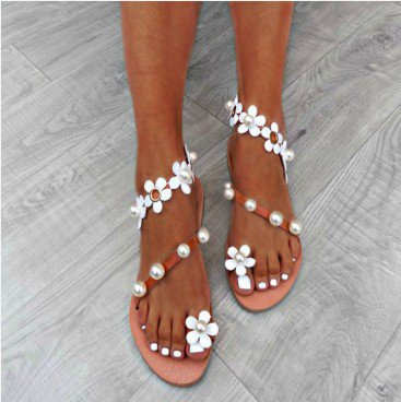 White Summer Flower Pu Holiday Sandals