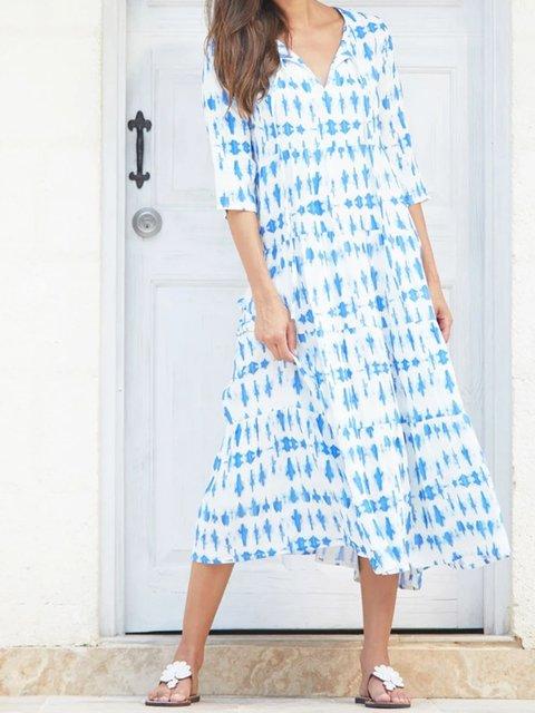 Blue V Neck Casual Dresses