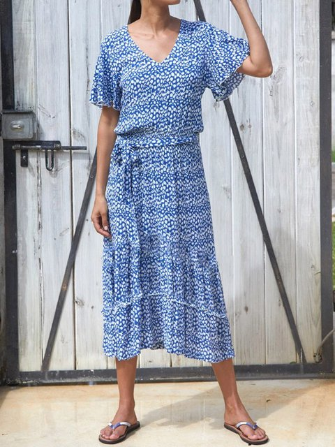 Blue Cotton-Blend Casual Dresses