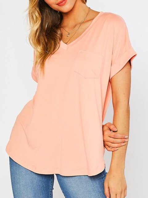 Casual V-Neck Sollid Color T-shirt