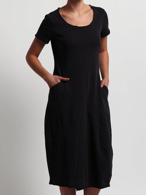 Casual loose pocket midi dress