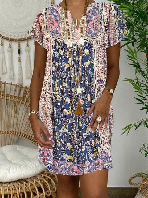 Blue Cotton-Blend Short Sleeve Dresses