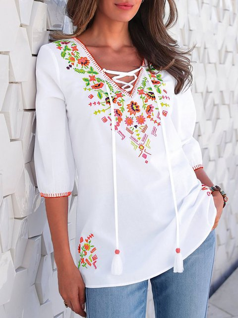 Half Sleeve Floral Casual Shirts & Tops