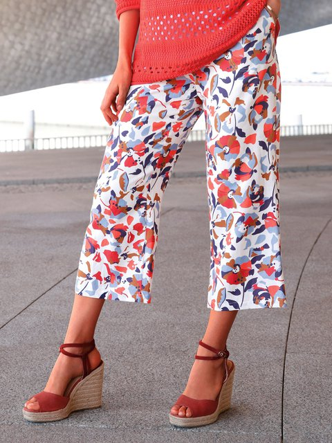 Pocket casual loose floral cropped trousers