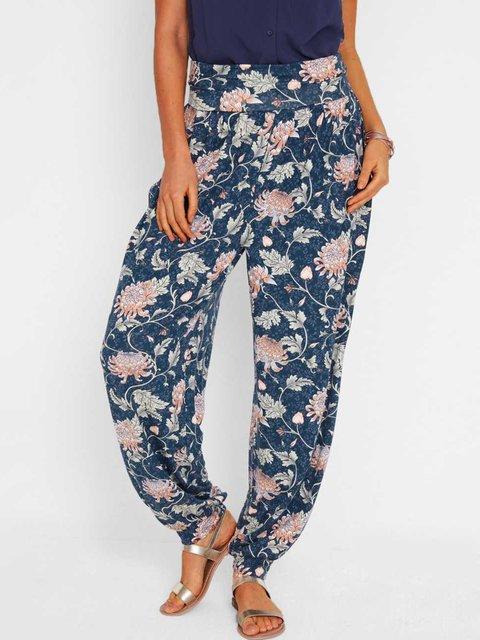 Loose harem pants casual pocket floral pants
