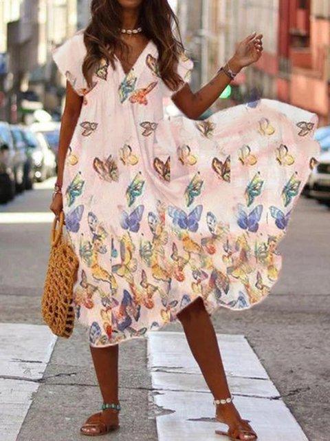 White Short Sleeve V Neck Cotton-Blend Dresses