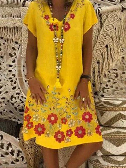 Yellow Short Sleeve V Neck Dresses