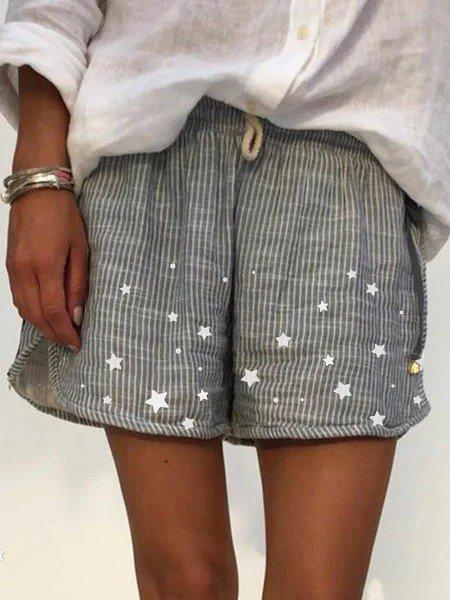 Women's Elastic Waist Star print striped shorts casual shorts