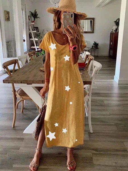 Star print loose casual dress