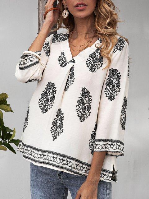 White 3/4 Sleeve Cotton-Blend V Neck Boho Shirts & Tops