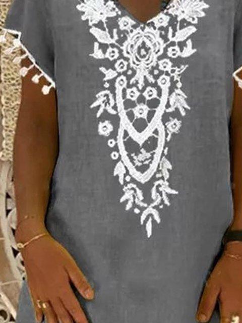 Gray Short Sleeve Crew Neck Cotton-Blend Dresses