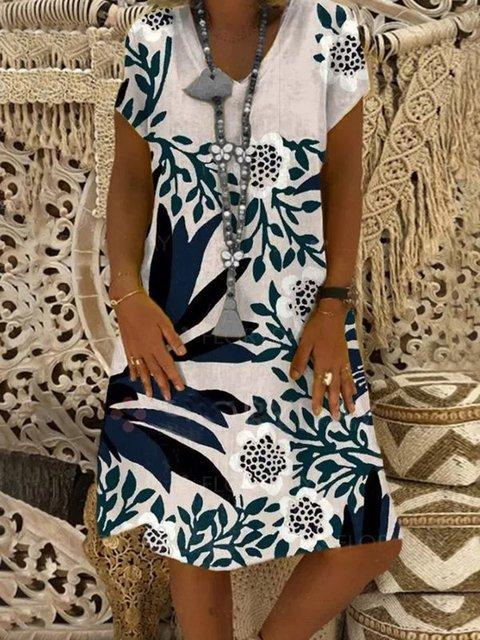 Light Gray Casual Crew Neck Cotton-Blend Plants Dresses
