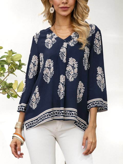 Black Cotton-Blend Shift Boho Shirts & Tops
