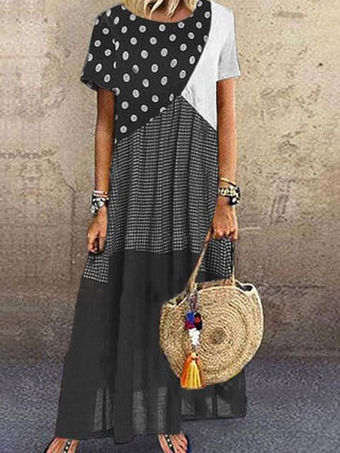 Black Short Sleeve Cotton-Blend Casual Dresses