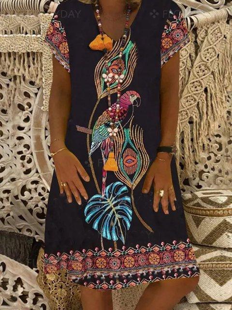 Black Floral-Print Crew Neck Short Sleeve Dresses